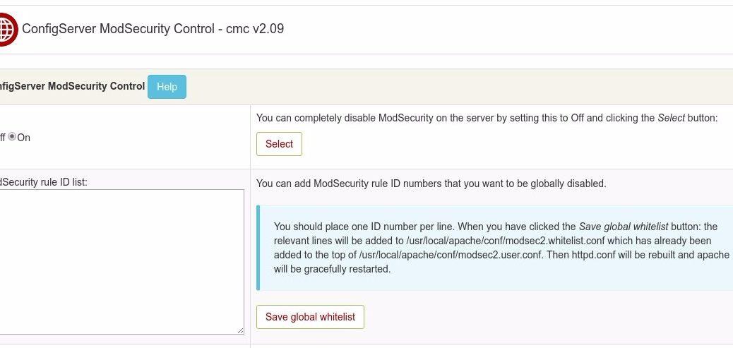 Install ConfigServer ModSecurity Control di WHM